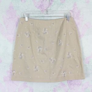 NEW Ann Taylor Khaki Floral Embroidered Skirt